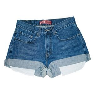 Levi's Dark Wash Mid-Waisted Rise Cuffed Shorts 27
